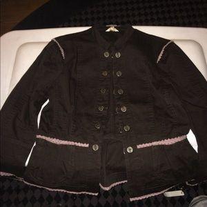 Marty M Brown Cotton Jacket w/ Purple Lace Accents